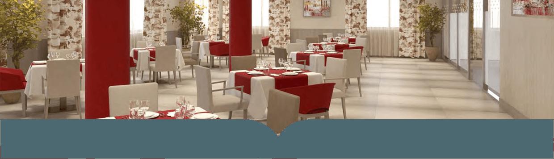 Salón comedor de la residencia de Emera Juan Bravo en Madrid