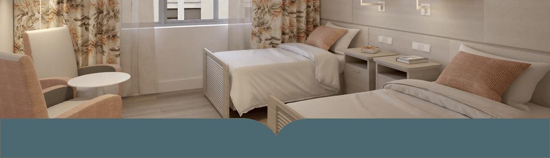 Habitación de la residencia para personas mayores en Juan Bravo de Madrid