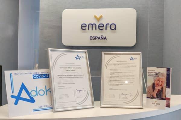 Las residencias para personas mayores de Emera España obtienen el sello de garantía de cumplimiento de los protocolos frente al Covid-19
