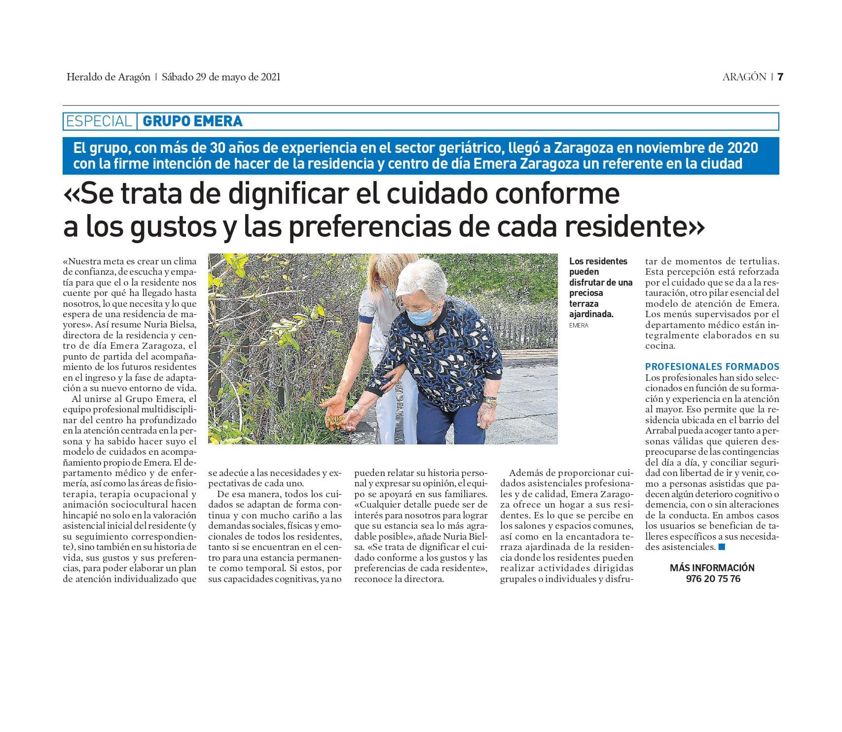 Residencia de mayores Emera Zaragoza en el Heraldo